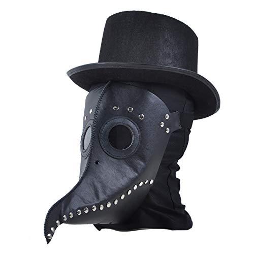 Dreamworldeu Pestmaske Schnabelmaske PU Leder Lange Nase Vogel Steampunk Pestdoktor Maske Halloween Kostüm Dekoration für Erwachsene