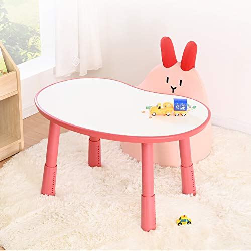HJ-CGZ Frühkindliche Bildung Tisch, Abhebbarer Tisch und Stuhl mit bequemen Sofa, Kunststoff Activity Table für Kindergärten, Haus Schlafzimmer-Dekoration,Rosa