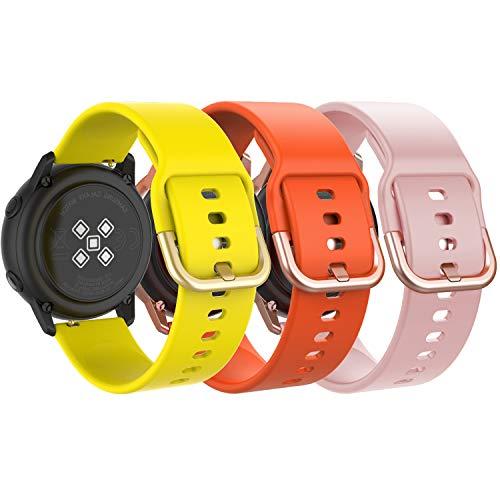 MoKo Armband Kompatibel mit Huawei Watch GT 2 42mm/Samsung Galaxy Watch 42mm/Galaxy Watch Active/Active 2/Garmin Vivoactive 3, 3 Pack 20mm Silikon Replacement Sportarmband - Gelb & Orange & Rosa
