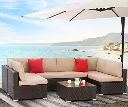 Incbruce Outdoor Patio Furniture Set 7-Piece All-Weather Sectional Sofa Outside Couch, Manual Weaving Wicker Rattan Conversation Set with Glass Top Table and Removable Cushions (Beige)