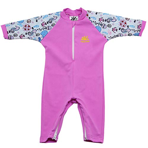Nozone Fiji Sun Protective Baby Girl Swimsuit Fun Prints in Bahama/Pink Sea, 24-36 Months