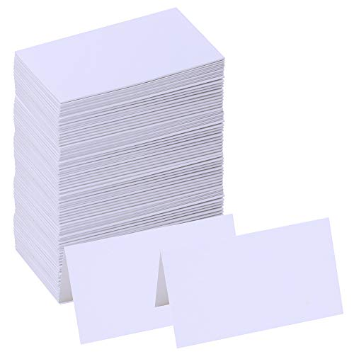 """Supla 100 Pcs Table Name Place Cards Blank Place Cards White Table Tent Cards Table Name Tags Table Card Seating Cards -3.5"""" x 2""""(LxW) for Wedding Baby Showers Christmas Dinner Party"""