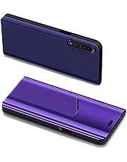 Herbests Carcasa Huawei P20 Pro Espejo, Funda Huawei P20 Pro 360 Grados Completa Protección Carcasa Galvanoplastia Espejo Cosmético Funda de Cuero Clear View Mirror Leather Cover