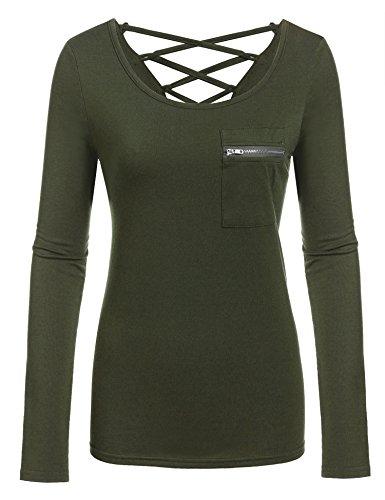 Meaneor Damen Basic Langarm Shirt Schnürung Hinter Langarmshirt Pullover Oberteil Top V-Ausschnitt Winter Herbst Frühling Einfarbig Stretch