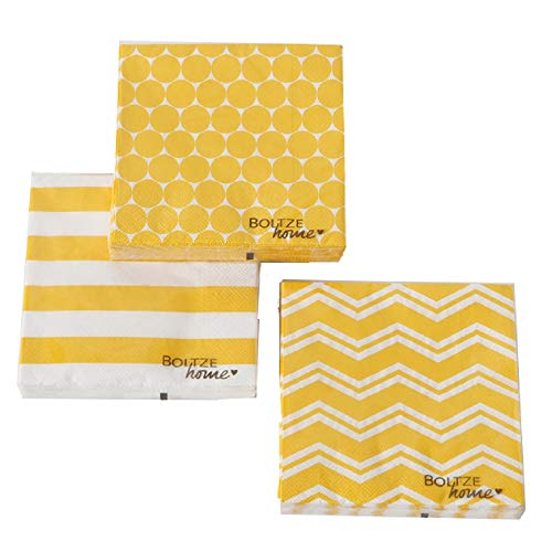 Home Collection Casa Cucina Decorazione Accessori Set 60 Tovaglioli Monouso Carta 3 veli 33 x 33 cm Motivo Bianco Giallo