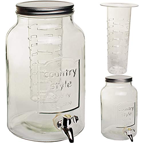 alles-meine.de GmbH 2 Stück _ 5 Liter - XXL große Getränkespender + Infuser Sieb - Glas - mit Zapfhahn & Deckel - Eiseinsatz / Früchteeinsatz / Siebeinsatz / Fruchteinsatz - Früc..