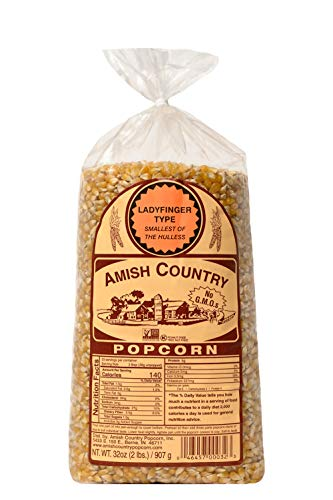 Amish Country Popcorn | 2 lb Bag | Ladyfinger Popcorn Kernels | Old Fashioned with Recipe Guide (Ladyfinger - 2 lb Bag)