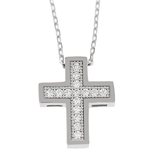 Echt goud dames zirkonia kruis met ketting sieradenset witgoud hanger gouden hanger set 2412