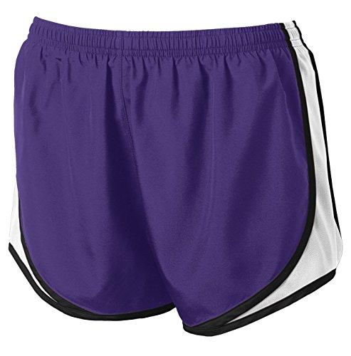 Clothe Co. Womens Running Shorts Moisture Wicking Sport Running Shorts, Purple/White/Black, M