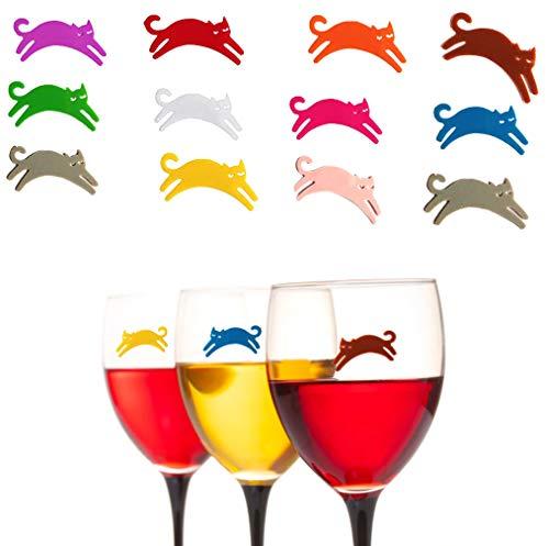 CYJZHEU 12 Pezzi Segna Bicchieri Colorati, Marcatori per Bevande in Silicone Charms Glass Marker Supporti per Bustine di tè a Forma di Animale per Cocktail Party Family Dinner Party (Più Colori)