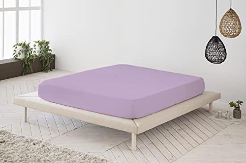 Sábana Bajera Ajustable Violeta 100% algodón Cama de 105 cm (105x190 200 cm)