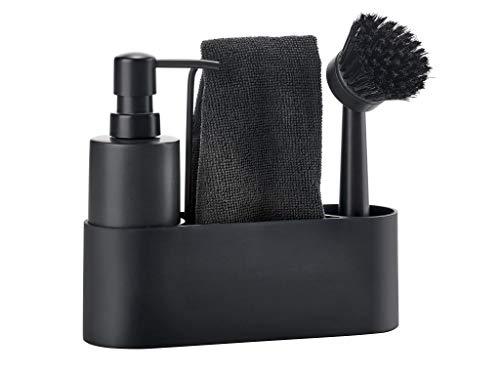 Zone – Set pour laver la vaisselle – Simple – Noir – 22 x 18,5 x 7 cm