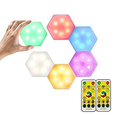 Puck Lights Battery Operated, Puck Lights with Remote, led Kitchen Cabinet Lighting,(6 Pack) Cabinet Puck Lights with 2 Wireless Remote, RGB Color & Warm White