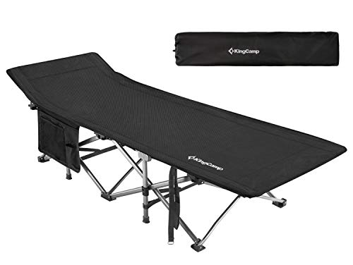 KingCamp Camping Cot Oversized for Adults 30' Wide 440 lbs Capacity, XXL Heavy Duty Folding Sleeping Bed Aluminum Frame with 1200D Jacquard Oxford Fabric for Indoor & Outdoor