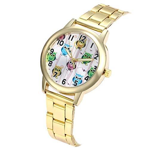WZFCSAE Carino Gufo Orologi Moda Donna Acciaio Inossidabile Quarzo Banda Rotonda Orologio da Polso Donna Orologio Donna Orologi Relojes Mujer * 1219 Oro