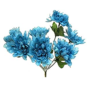 LINESS for Chrysanthemum Bush 5 Mums Silk Artificial Fake Flowers Bouquet Centerpiece Fall DIY LINESS for Wedding Flowers, Petals & Garlands Floral Décor – Color is Turquoise/Teal