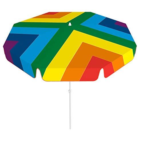 Vispronet® Sonnenschirm, rund, Volant ∅ 180 cm Regenbogen, bunt ✓ 2-teiliger Schirmstock ✓ 4-teilig Bedruckt ✓ Durchdruck des Motivs ✓ kippbar