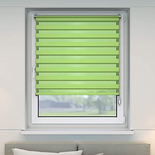 VICTORIA M Doppelrollo 75 x 150cm grün – Klemmfix Duo-Rollo ohne Bohren mit Klemmträgern - 2