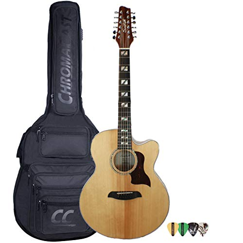 Sawtooth Maple Series 12-String Acoustic-Electric Cutaway Jumbo Guitar with Padded Gig Bag & Pick Sampler