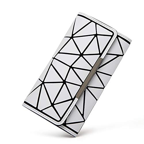 QXbecky Wallet Geometric Rhombus Matte tri-fold Long Hand Luminous Female Bag 19x10cm