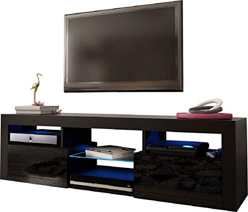 """MEBLE FURNITURE & RUGS Bari 160 Wall Mounted Floating 63"""" TV Stand with 16 Color LEDs Black"""