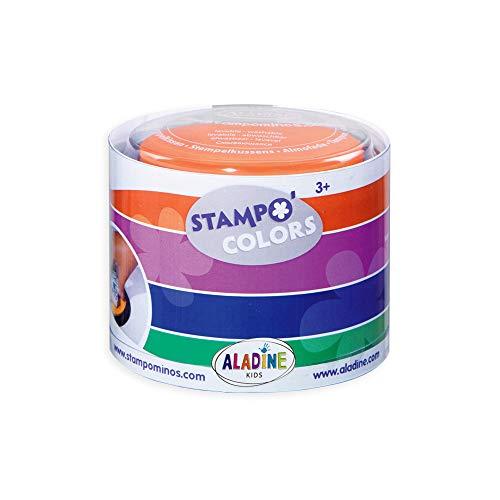 Aladine - Stampo Colors Carnaval - Encreurs Taille XL de Couleur - Encre Lavable - Activités Manuelles et Loisirs Créatifs pour Enfants - Boîte de 4 Encreurs Grand Format - Dès 3 ans