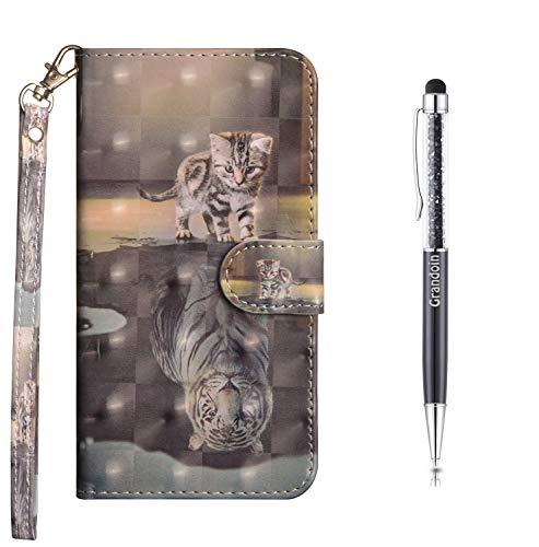 Preisvergleich Produktbild Grandoin Kompatibel mit Samsung Galaxy A71 Hülle,  3D PU Leder Etui Flip Cover Bunte Muster Book Case Schutzhülle Handytasche Handyhülle [Ständer Kartenfach] [Magnetverschluss] (Katze Und Tiger)