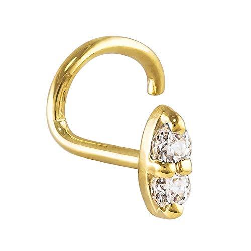 FreshTrends Double Diamond Nose Ring 1.75mm 14K Yellow Gold Twist Screw 20G 0.04 ct. tw (0.04 Ct Tw Diamond)