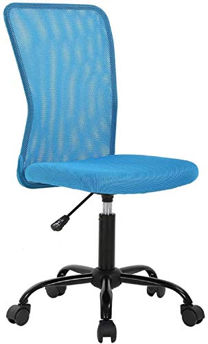 Armless Task Chair Ergonomic Office Computer Desk Chair Mesh Home Office Chair with Lumbar Support Swivel Rolling Chair for Adults No Armrest Height Adjustable, Blue
