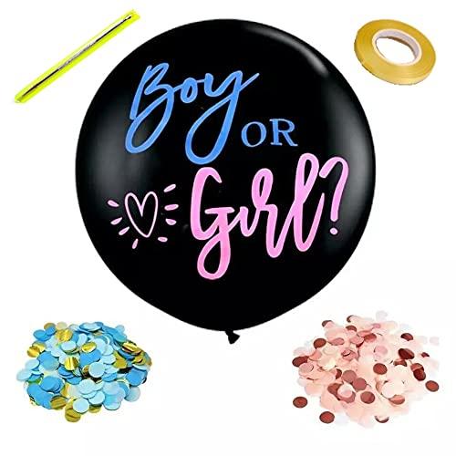 Globos género Reveal XXL negros de 36 pulgadas, 90 cm, para bebé niño o niña, de látex con confeti rosa y azul, aguja y cinta, decoración para fiestas de bebé