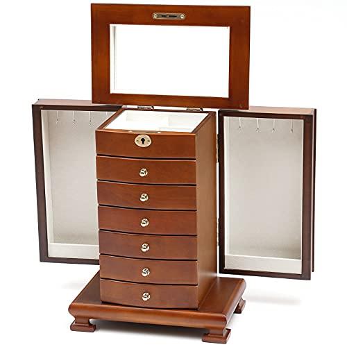 Futchoy Joyero grande de madera – 7 niveles – con 6 cajones, espejo y 4 ganchos – para guardar relojes collares y pulseras – 27,9 x 17,5 x 38 cm – marrón