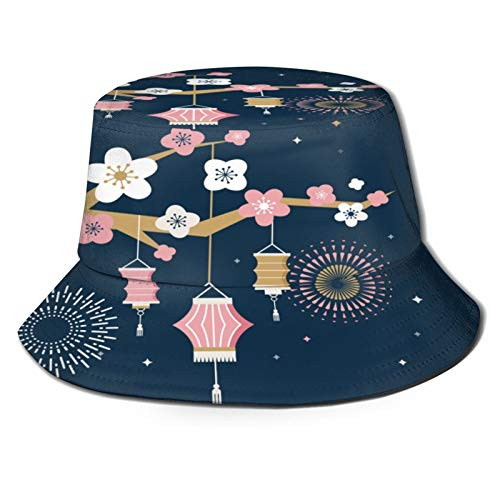 TTLUCKY Sombrero de Pesca,Festival del Medio Otoño Texto Chino de Chuseok,Senderismo para Hombres y Mujeres al Aire Libre Sombrero de Cubo Sombrero para el Sol