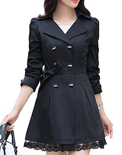 S&S-women Fashion Double-Breasted Belt Bowknot Skirted Hem Trench Coat Black
