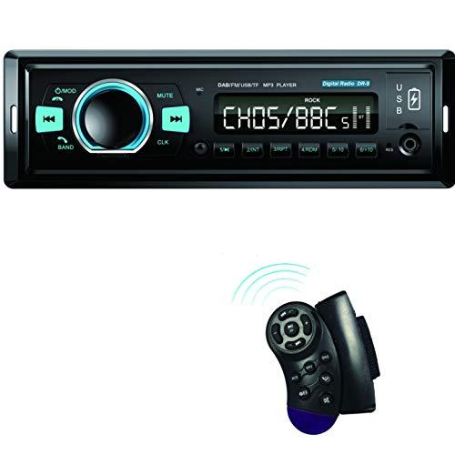 M.I.C.DR-9 : DAB+ Autoradio mit Bluetooth Music Freisprecheinrichtung I FM Radio I 1A Smartphone Ladefunktion I microSD USB AUX IN (ipod) I integriert mikrofon I Lenkrad Fernbedienung I 1 DIN mp3 WAV