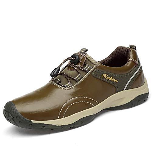 IENNSA Zapatos de Senderismo a estrenar Zapatos de Cuero Zapatos de Deporte Impermeable al Aire Libre Moda Zapatos Casuales Zapatos de Cordones Hombres Caminando al Aire Libre Redondo Dedo de