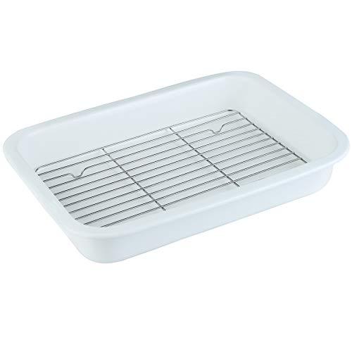DUS Ceramic Baking Dish Bakeware Oven Baking Pan Rectangular Casserole Dish with 304 Stainless Steel Baking Cooling Rack for Christmas Dinner Lasagna, White