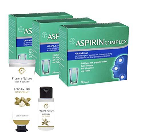 Aspirin Complex 3 x 20 Beutel Sparset inkl. einer pflegenden Handcreme o. einem Duschbad von Pharma Nature