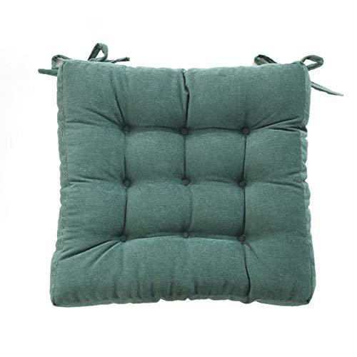 VISZC Cojín de silla con cintas, cojín de asiento suave, cojín de jardín, cómodo, parte superior de poliéster para jardín, terraza, cocina (verde oscuro, 38 verde-tierra-43x43