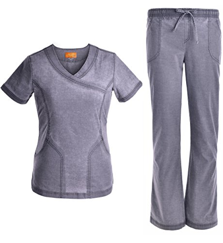 Women Mock Wrap Neck Stretch Set - Women Scrub Top Soft Uniforms Top and Pants Jeanish Washed JS1608 Pewter M