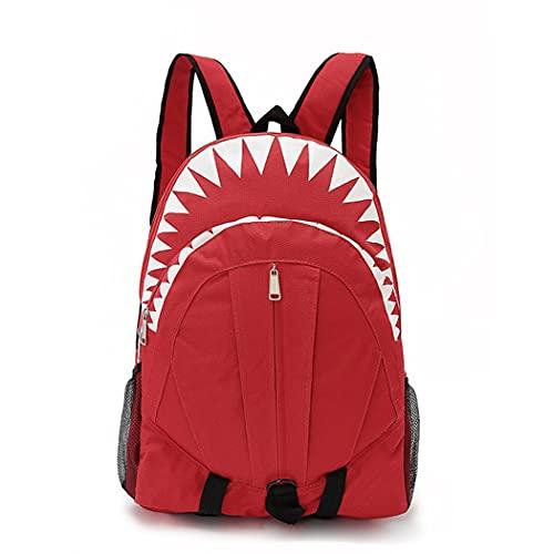 Mochila de Tiburones para Estudiantes, Bolso Escolar para niños, Mochila de Gran Capacidad Regalo de Mochila (Color : Red)