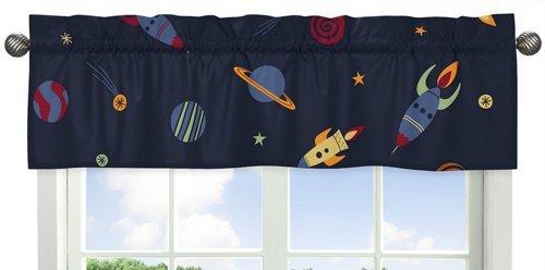 Sweet Jojo Designs Cenefa para ventana de barco, planetas galácticos, cenefa para la colección de ropa de cama de Space Galaxy
