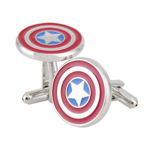 Rhodium Plated Captain America Cufflinks Marvel Comics Formal Wear