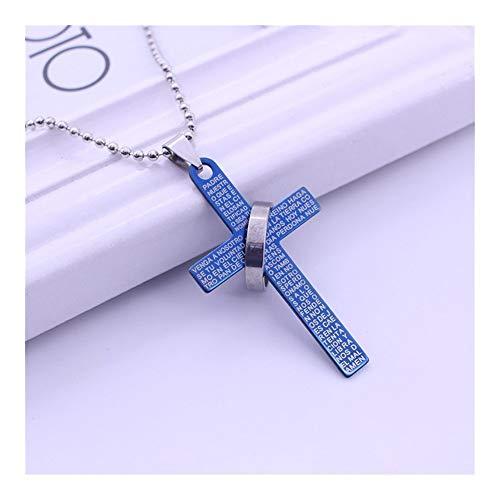 Accesorios Cruz de Moda de los Collares Pendientes Bible Verses Oro Jesús Cruz Pareja de Cadena del Grano del Regalo del Collar del Encanto del ahogador Declaración Regalo (Metal Color : Blue)