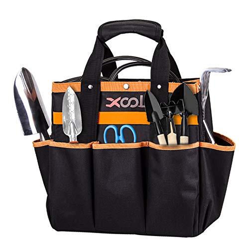 Garden Tool Bag XOOL Garden Tote with 8 Oxford Pockets for Indoor and Outdoor GardeningNonslip Weaving Grip Garden Gift(Garden Tool Bag Only/No Tools