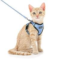 Dooradar 猫 ハーネス リードセット 3-7kg 猫用 小型犬 散歩 りーど はーねす ソフト サイズ調節可 軽量 簡単装着 夜反射 通気メッシュ 胴輪 リード付き ベスト(xs,スカイブルー)
