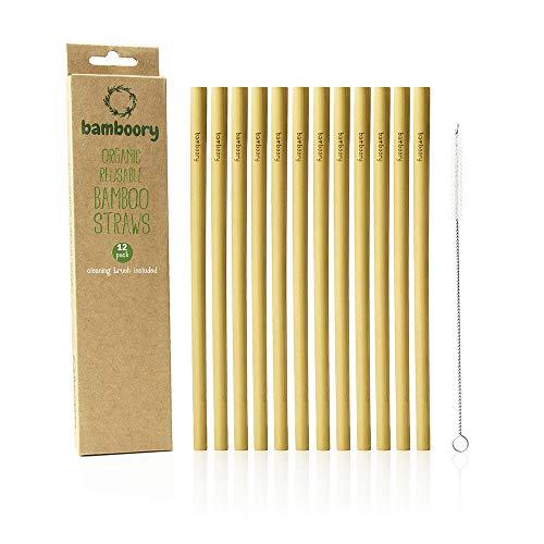 Pajitas de Bambú Reutilizable | 100% Orgánico y Biodegradable | Respetuoso Con el Medio Ambiente | Alternativa al Plástico | Cepillo de Limpieza Incluido | Paquete de 12