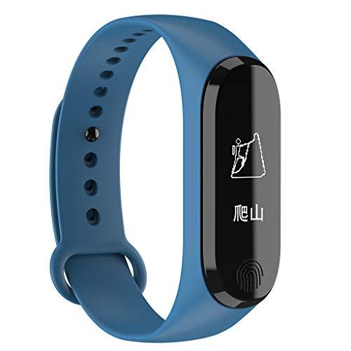 CAOQAO Reloj Inteligente Hombre Mujer Unisex Smart Watch Android iOS Monitor de Ritmo cardíaco Muñequera Use Smart Watch Compatible para iPhone Samsung Xiaomi Huawei (Azul)