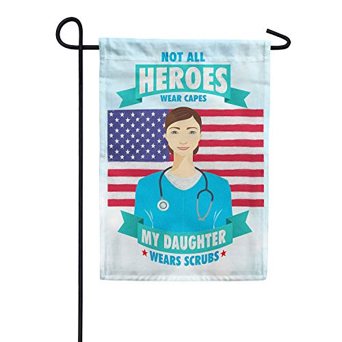 America Forever Flags Double Sided Garden Flag - Nurses are Heroes Too! - 12.5' x 18', Thank You Healthcare Workers, Fight Against Covid-19 Coronavirus Pandemic Flag, Yard Outdoor Decor Flags