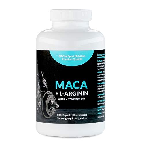 Maca Kapseln 1000 mg + L-Arginin 1800 mg + Vitamine + Zink, hochdosiert, 2-Monatspackung mit 240 Kapseln in deutscher Premiumqualität, von EXVital