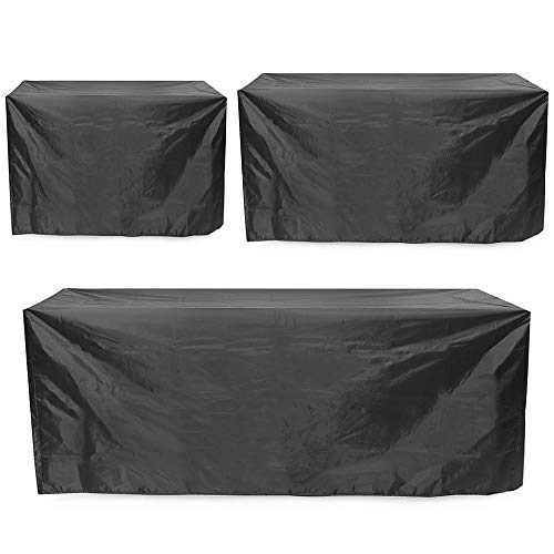 Garden Furniture Covers Waterproof Furniture Sofa Bench Table Chair Covers 2/3/4 Seaters Garden Outdoor Patio Furniture (Color : Black, Size : L)